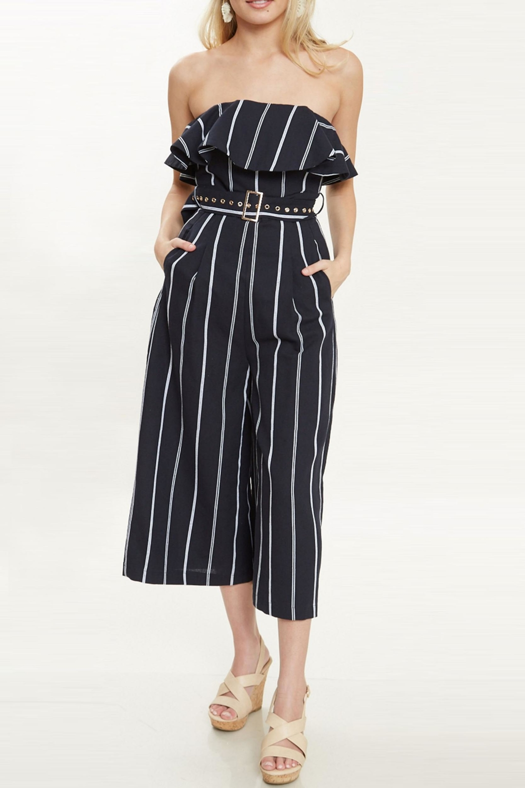 Bonded Pinstripe City Jumpsuit - Side Cropped Image