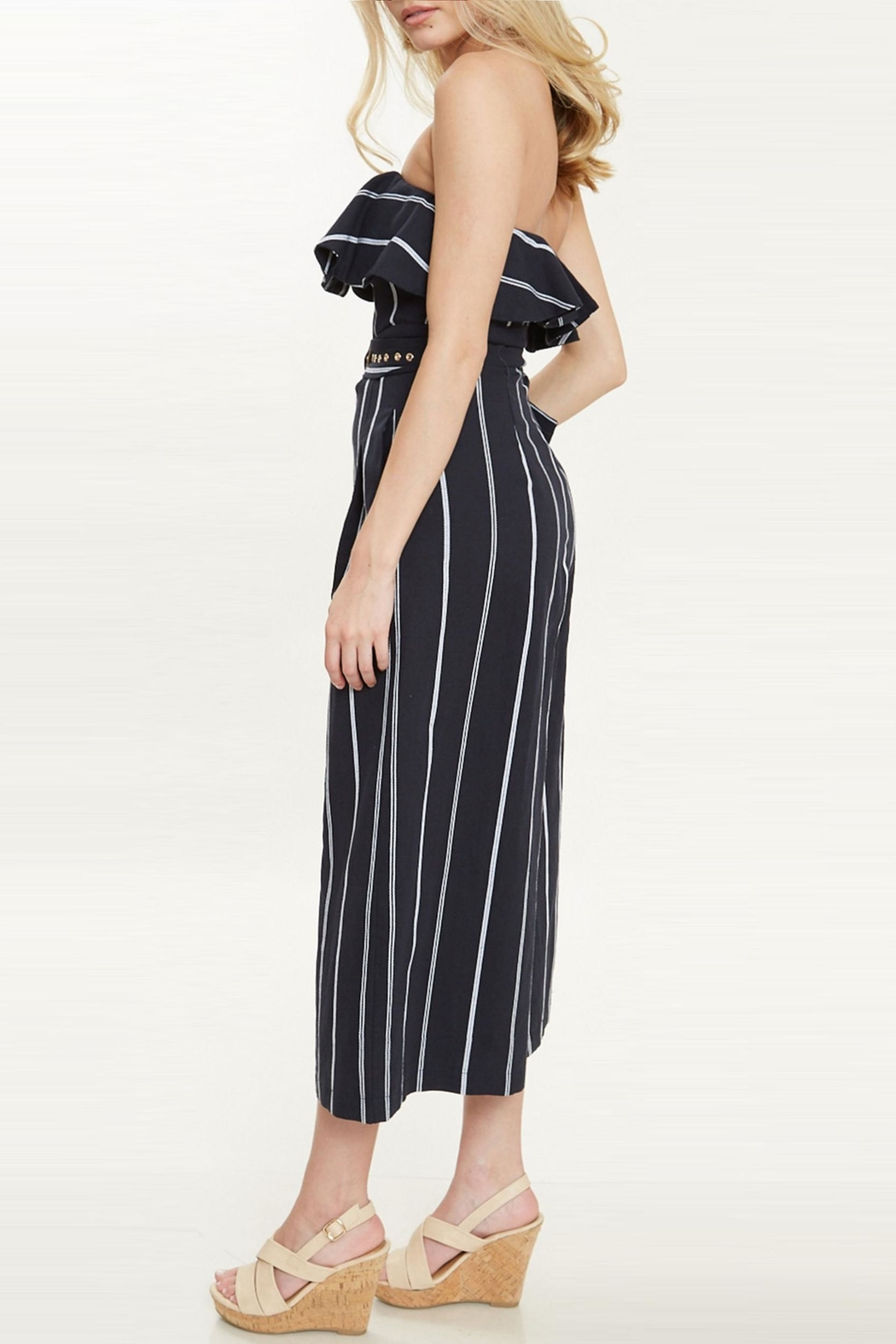 Bonded Pinstripe City Jumpsuit - Front Full Image