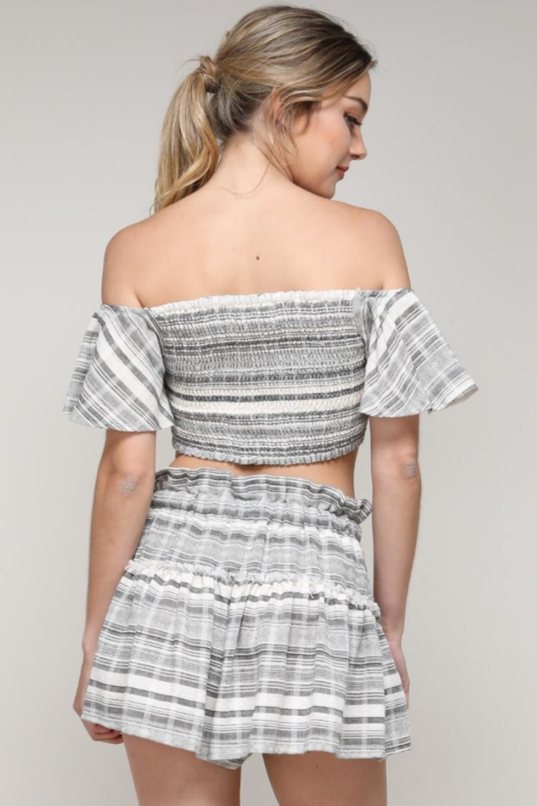 1c8f4807b5c41 Do   Be Pinstripe Crop Top from Los Angeles by Chikas — Shoptiques