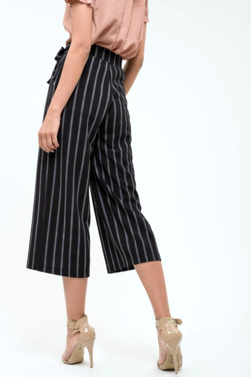 Blu Pepper Pinstripe Culottes Pants - Back Cropped Image