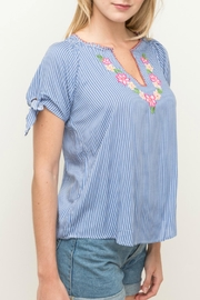 Hem & Thread Pinstripe Embroidered Top - Product Mini Image