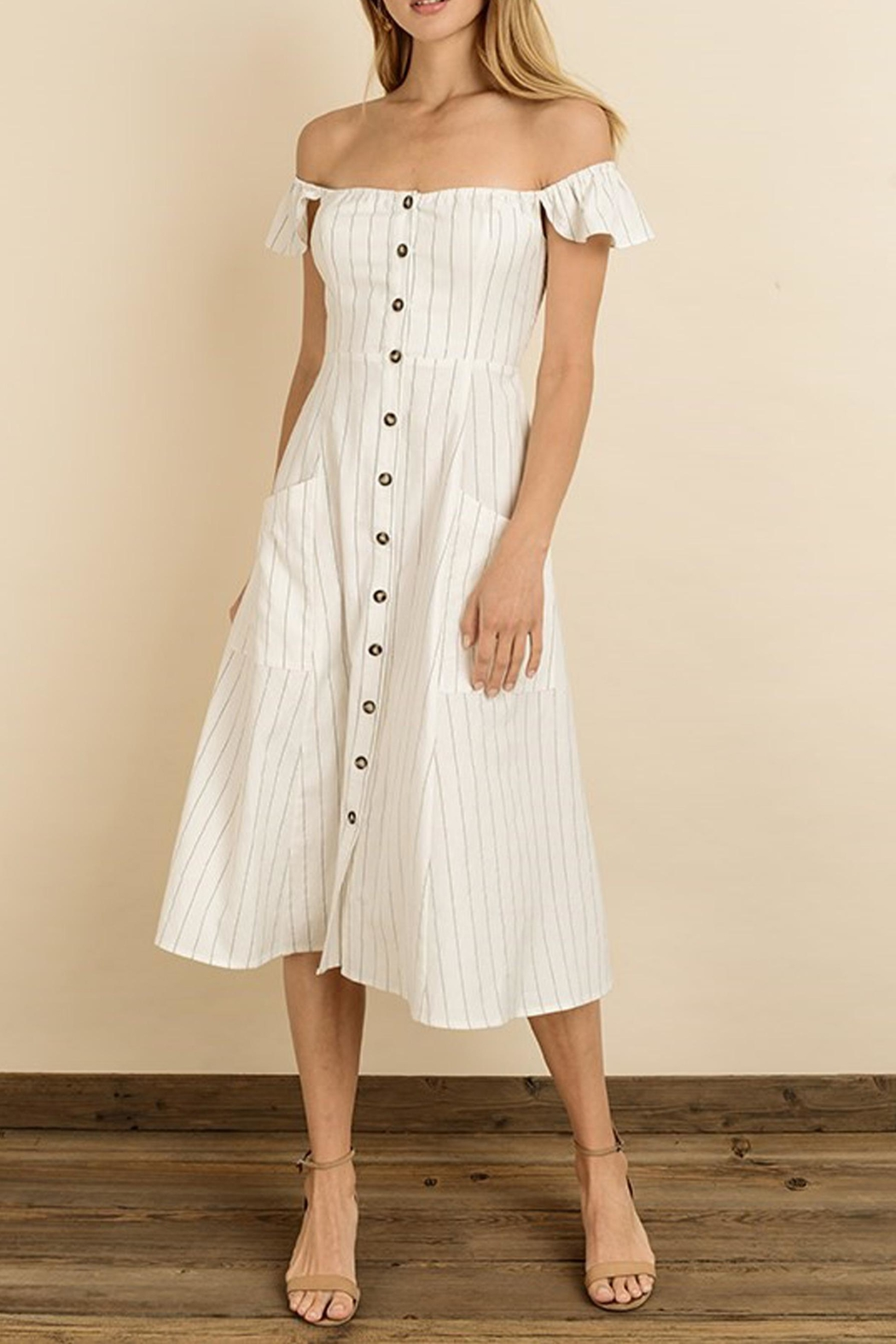 dress forum Pinstripe Flutter Midi - Front Cropped Image