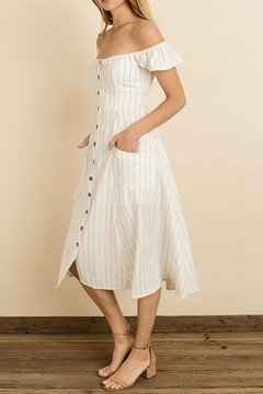 dress forum Pinstripe Flutter Midi - Alternate List Image