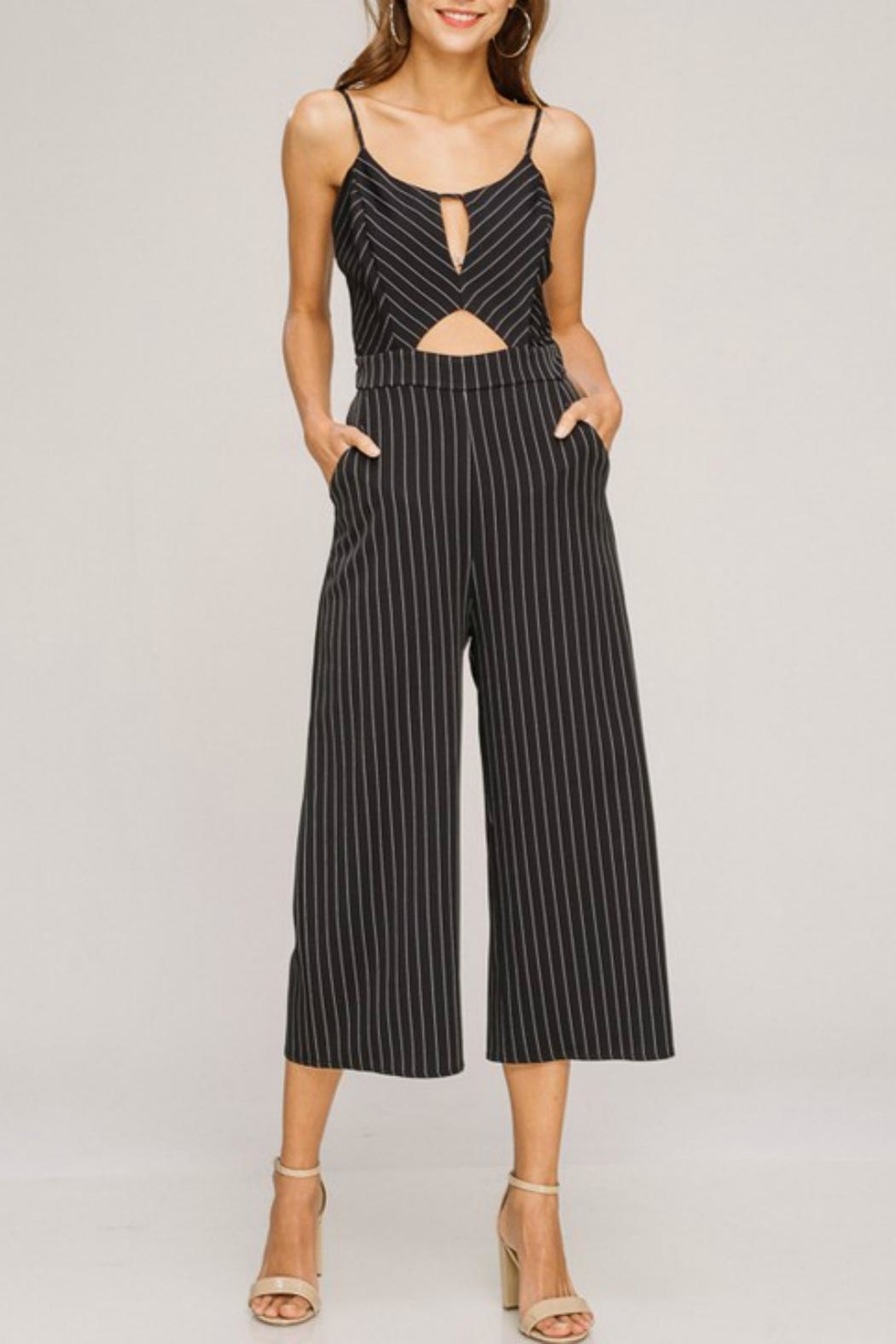 Pretty Little Things Pinstripe Jumpsuit - Main Image