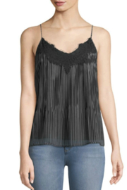 Black Tape Pinstripe Lace-Edge Cami - Product Mini Image