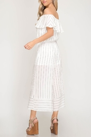 She + Sky Pinstripe Off-Shoulder Jumpsuit - Product Mini Image
