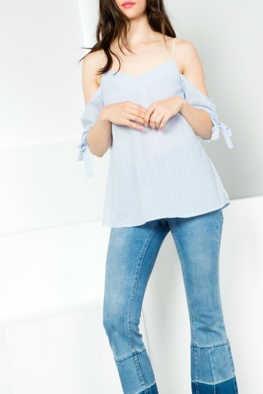 Thml Pinstripe Offshoulder Top - Main Image