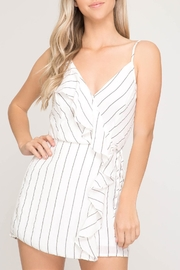 She + Sky Pinstripe Ruffle Romper - Front cropped