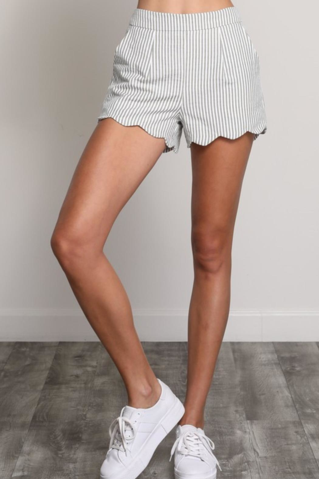 Wishlist Pinstripe Scallop Shorts - Front Cropped Image