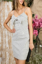 Pretty Little Things Pinstripe Self-Tie Dress - Front cropped