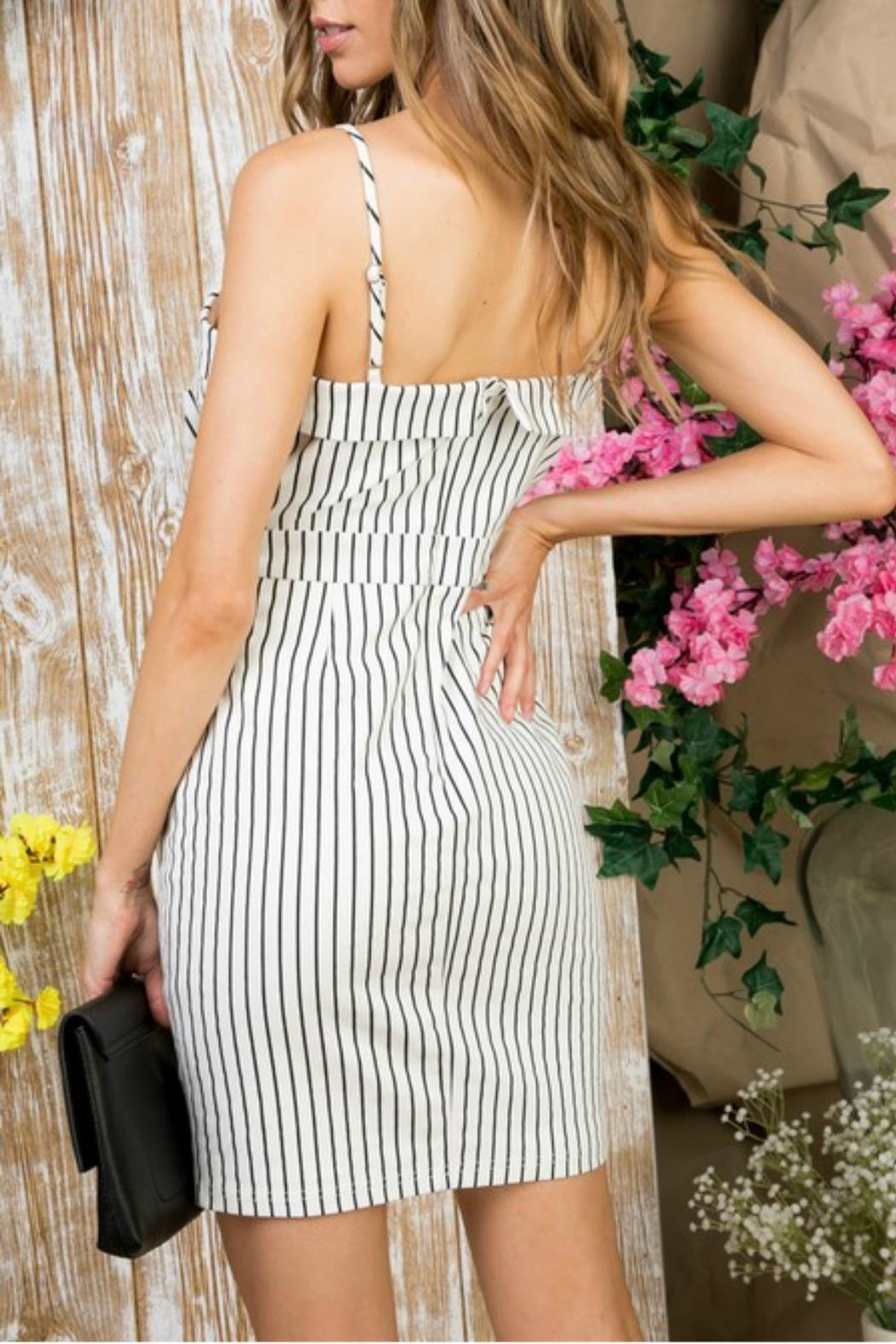 Pretty Little Things Pinstripe Self-Tie Dress - Front Full Image