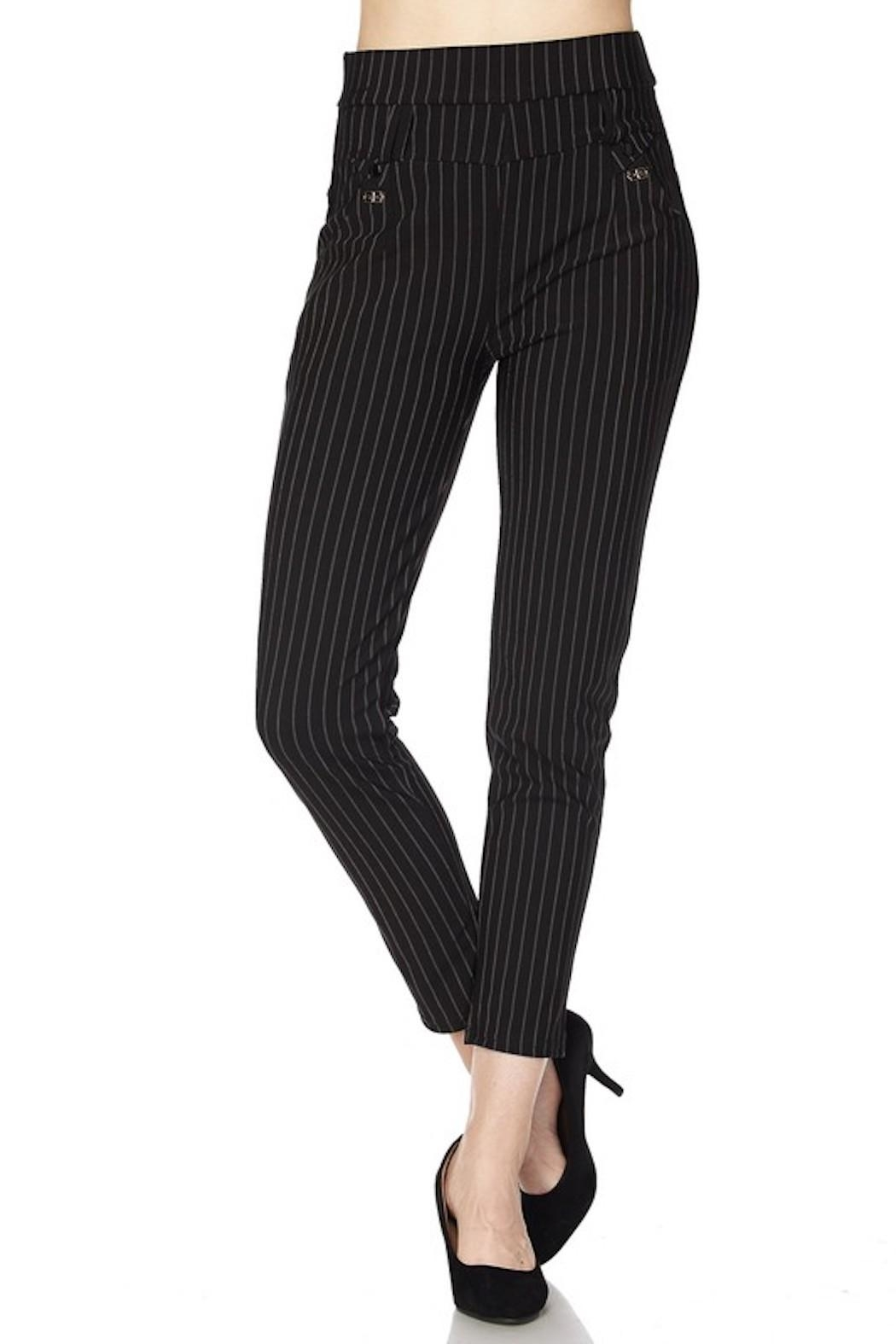 New Mix Pinstripe Stretch Pants - Front Full Image