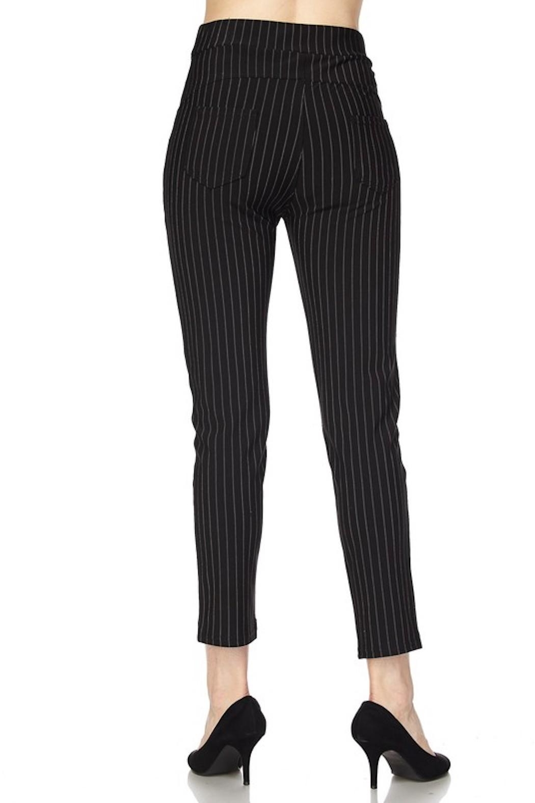 New Mix Pinstripe Stretch Pants - Side Cropped Image