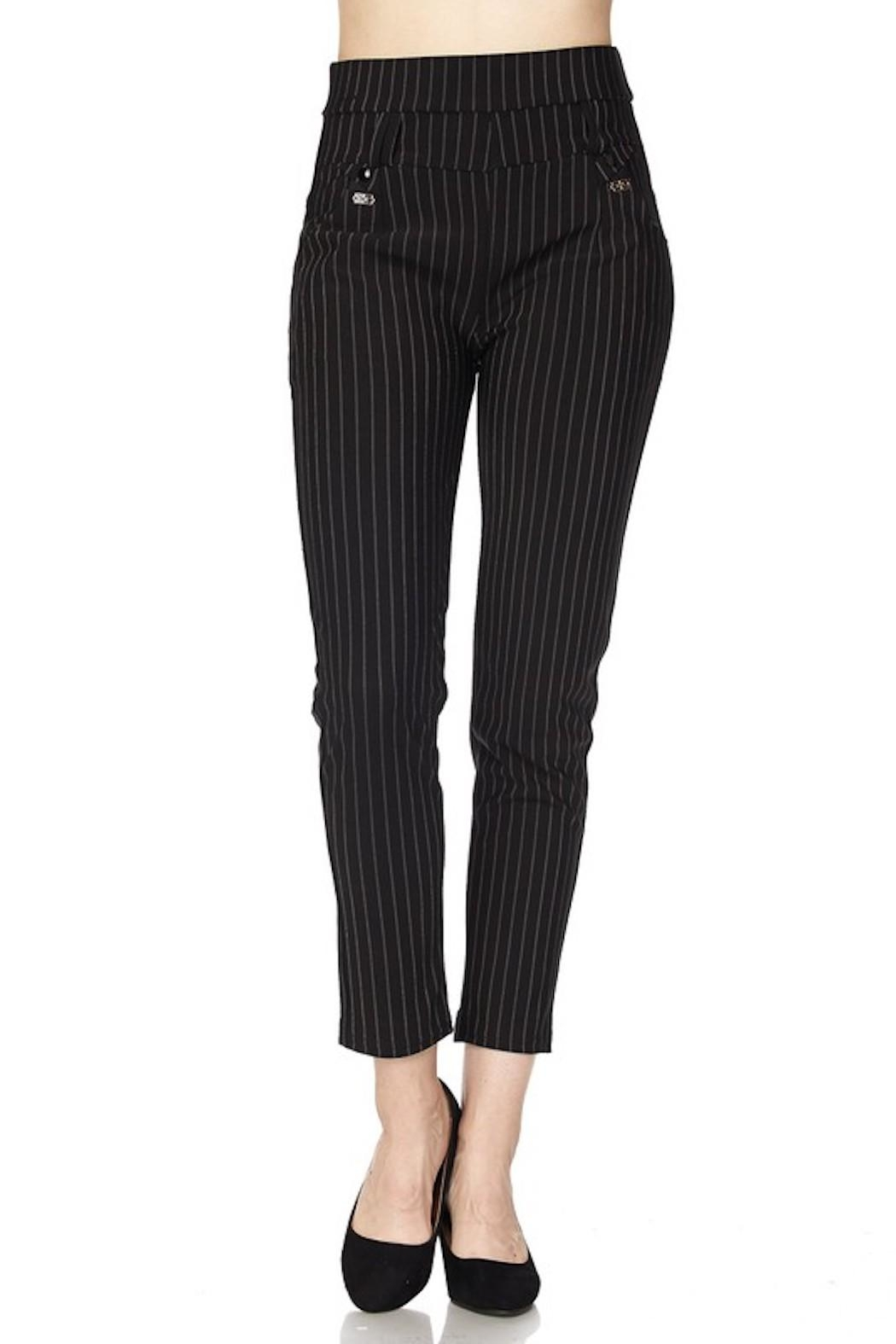 New Mix Pinstripe Stretch Pants - Front Cropped Image