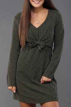 Everly Pinstripe Tie-Front Dress - Product List Image