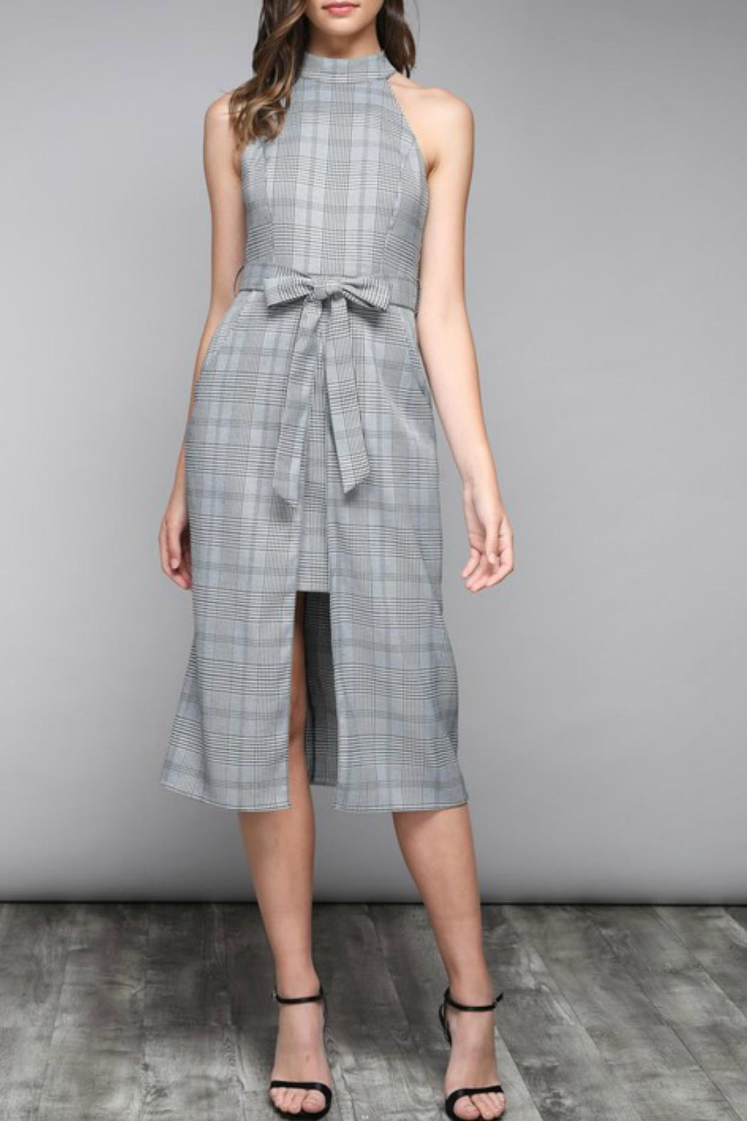 Do & Be Pinstripe Waist-Tie Dress - Front Cropped Image