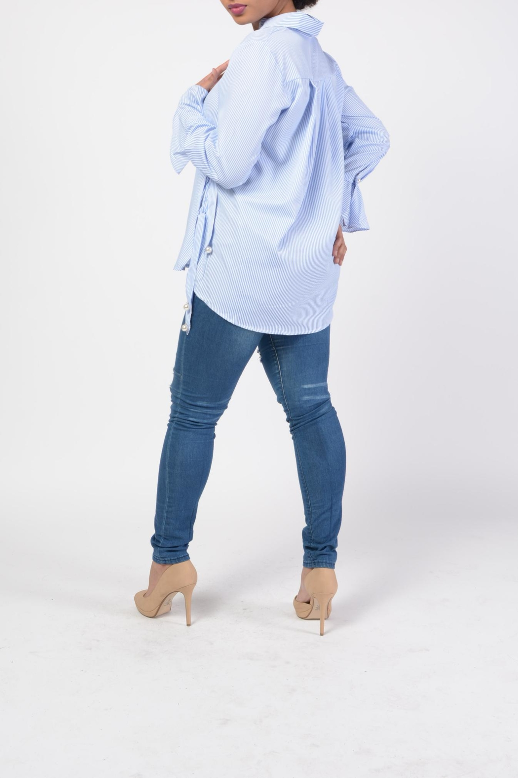 MODChic Couture Pinstriped Pearl Top - Side Cropped Image