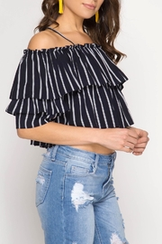 She + Sky Pinstriped Ruffle Top - Product Mini Image