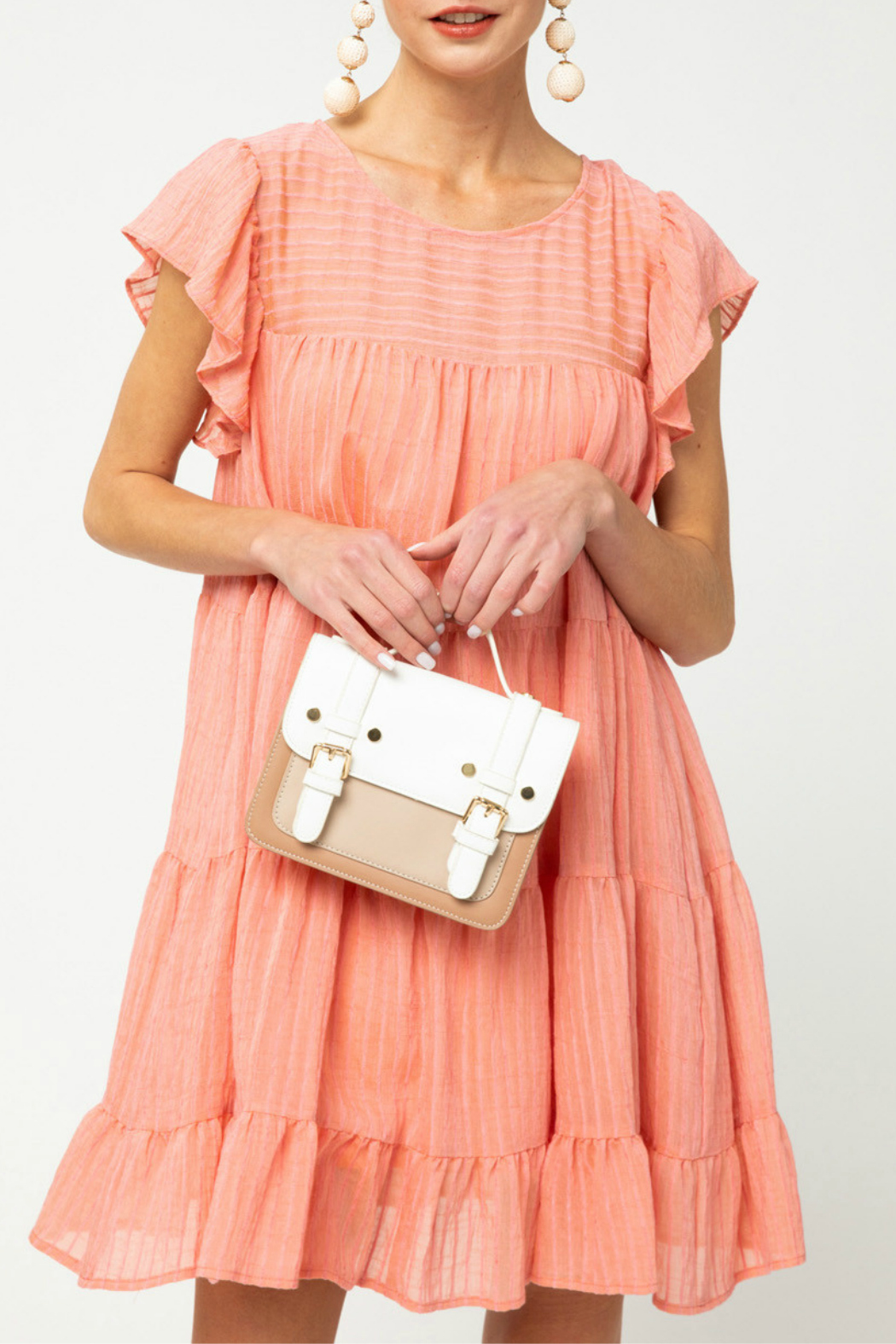 entro  Pinstriped Tiered Dress - Main Image