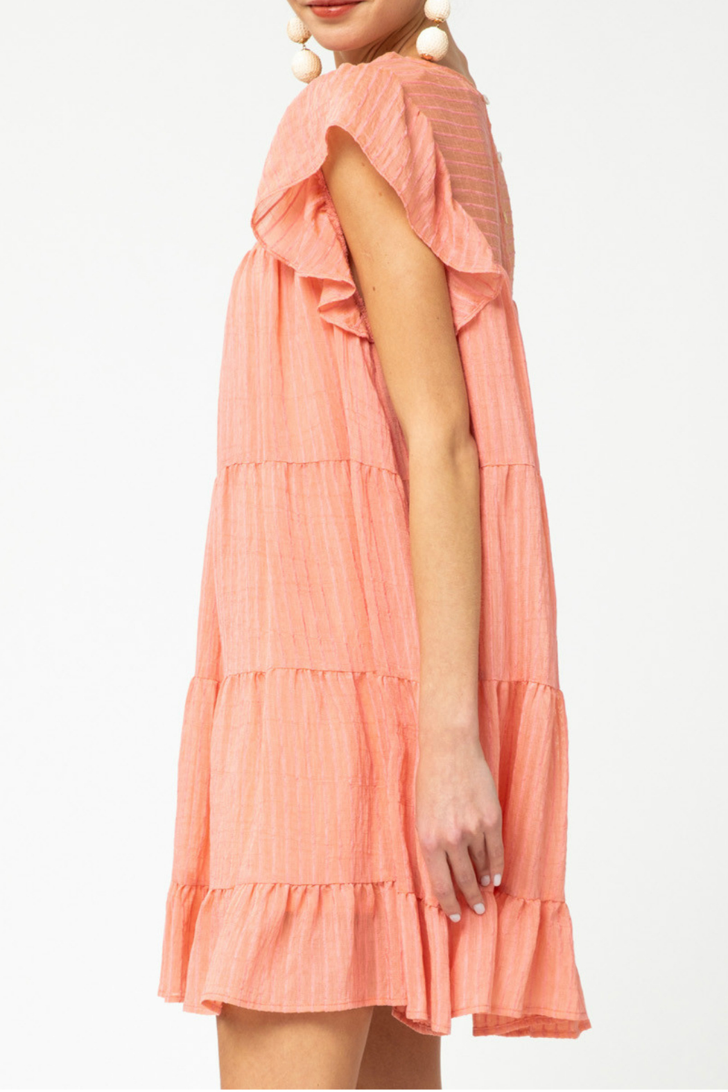 entro  Pinstriped Tiered Dress - Front Full Image