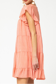 entro  Pinstriped Tiered Dress - Front full body