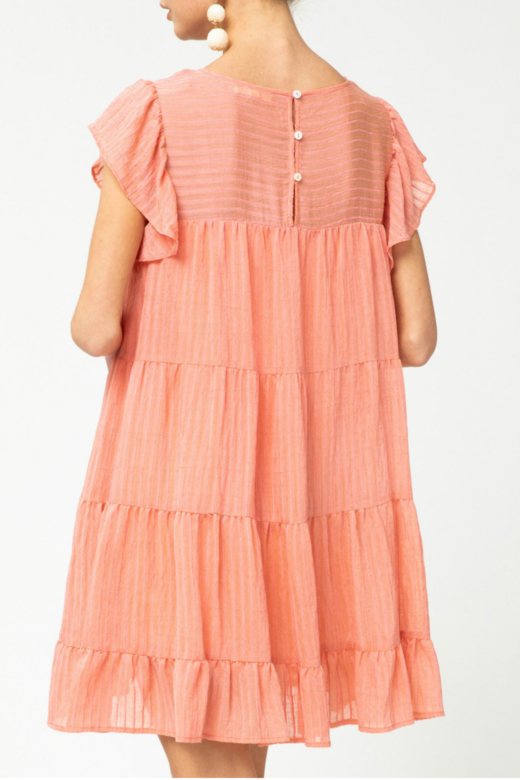 entro  Pinstriped Tiered Dress - Side Cropped Image