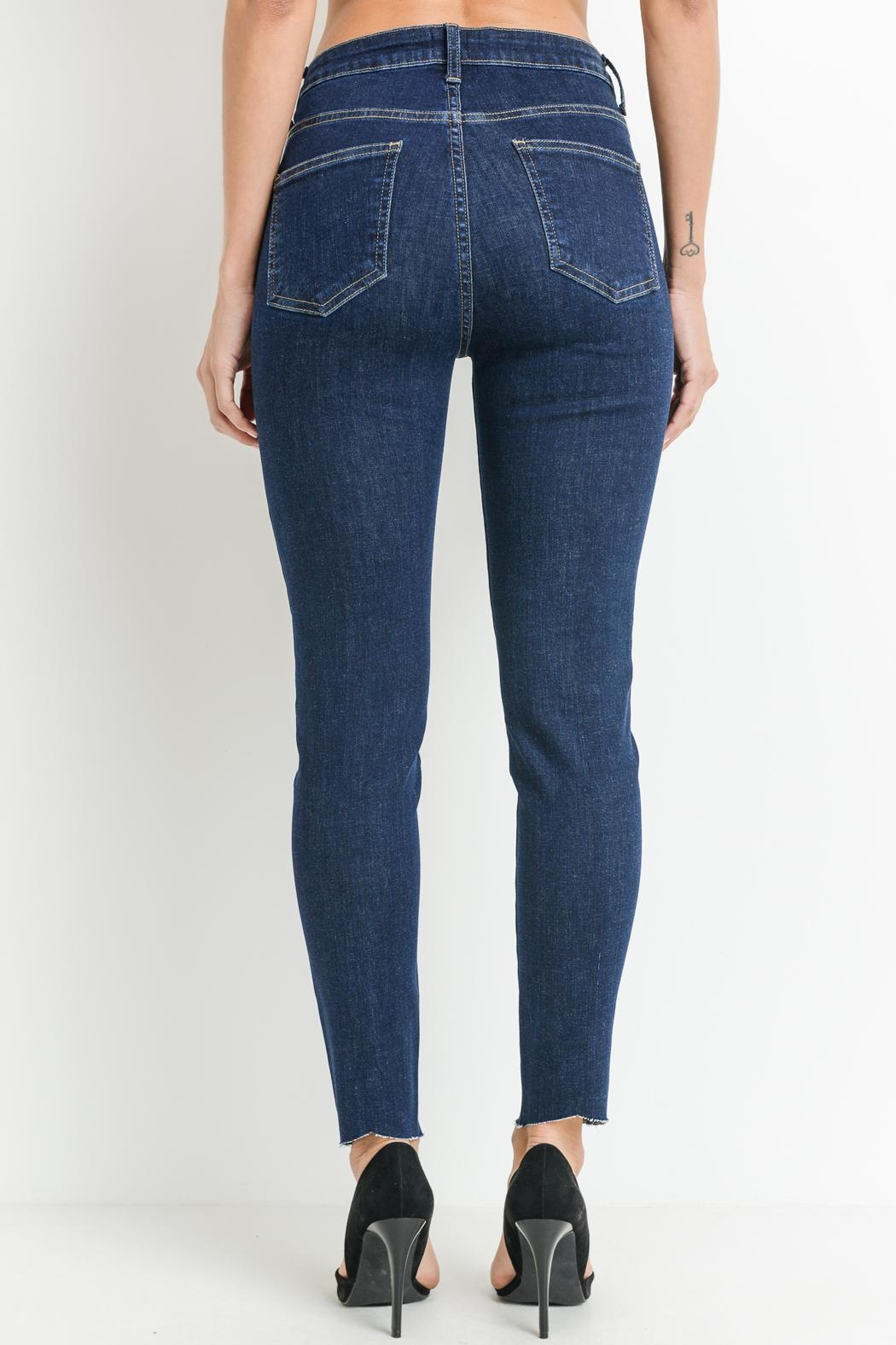 just black Pintuck Front Jeans - Back Cropped Image