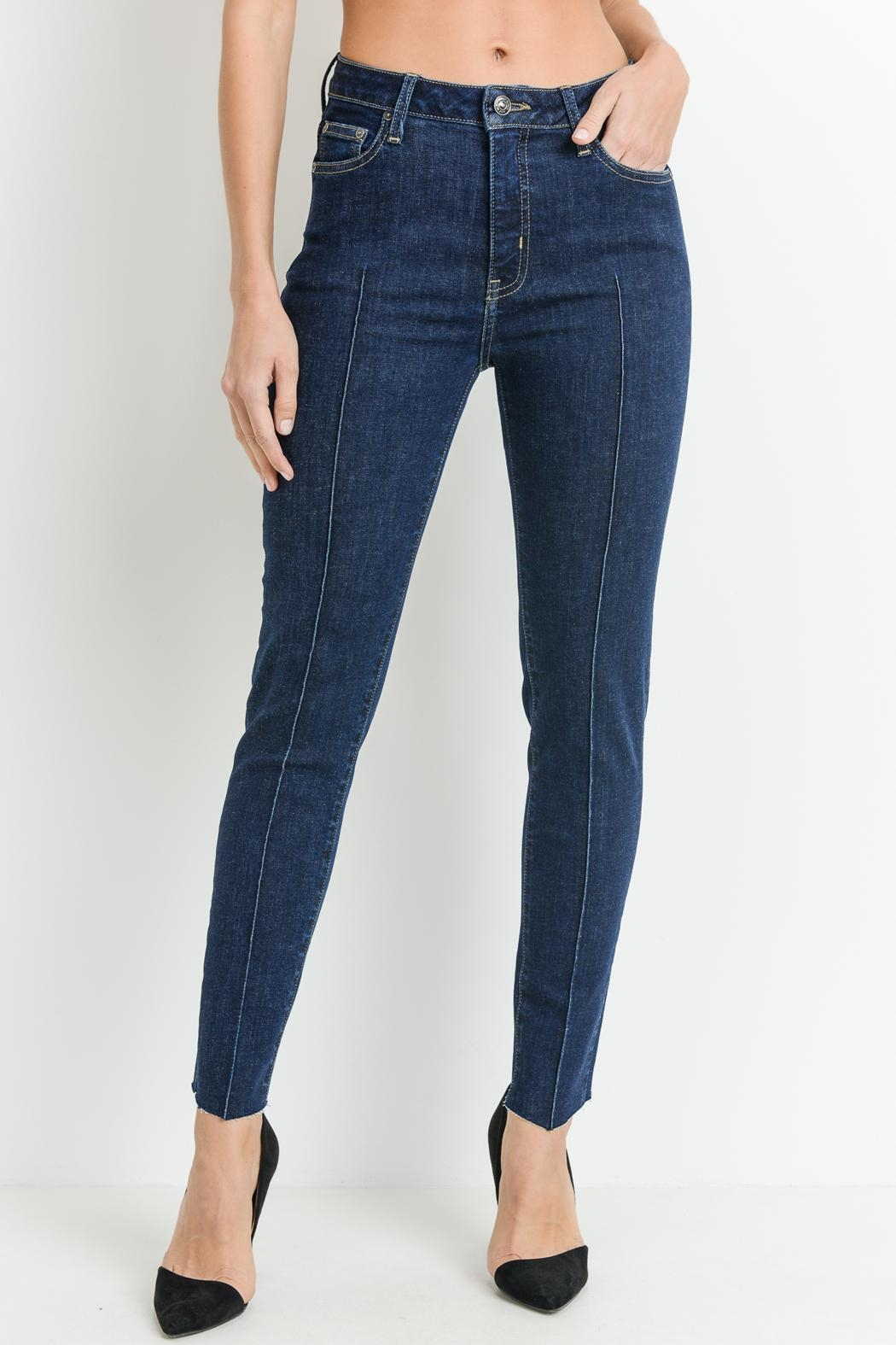 just black Pintuck Front Jeans - Front Cropped Image