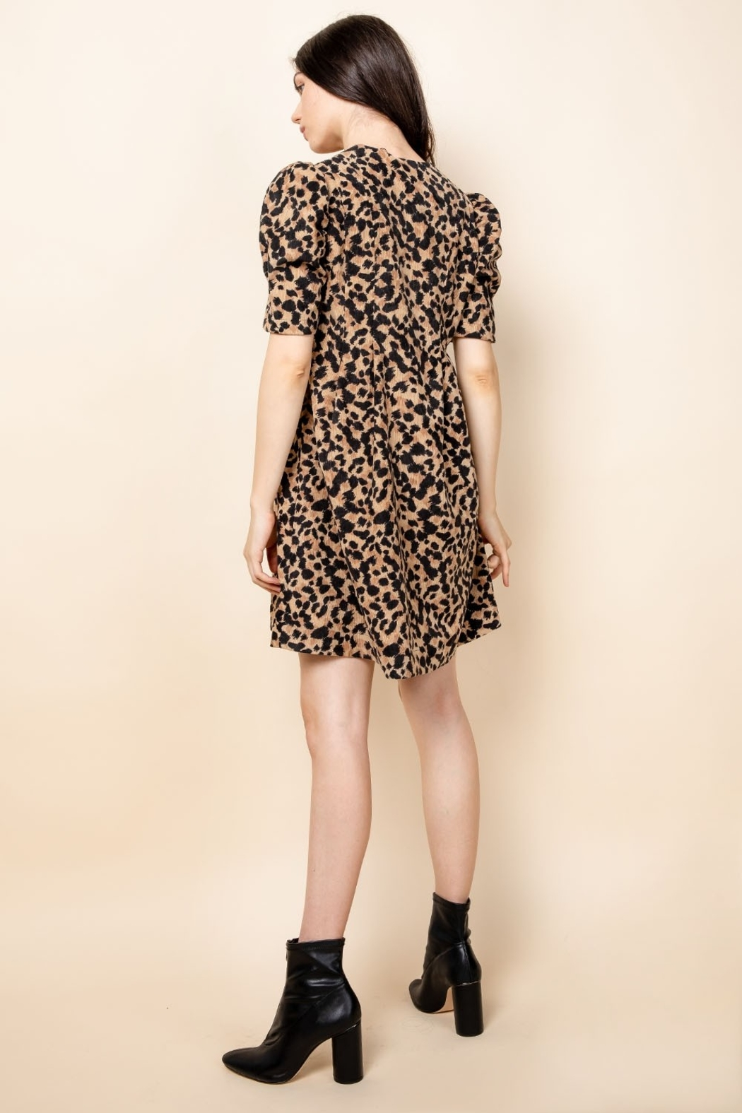Thml Pintucked Ruched Dress - Back Cropped Image