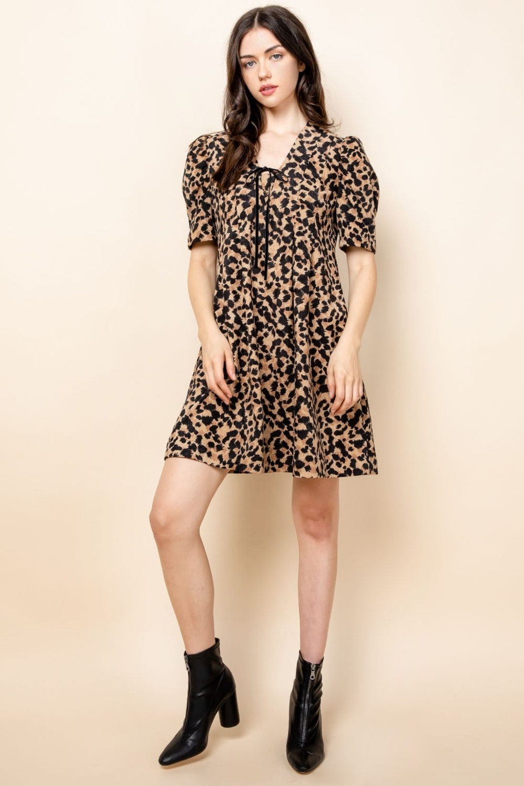 Thml Pintucked Ruched Dress - Front Full Image