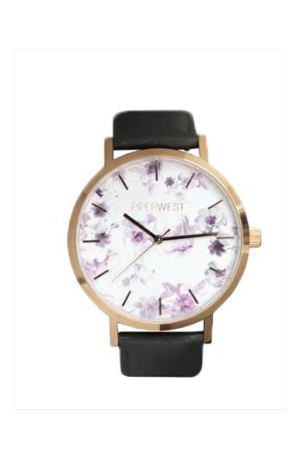PIPERWEST Floral Minimalist Charcoal Watch - Main Image