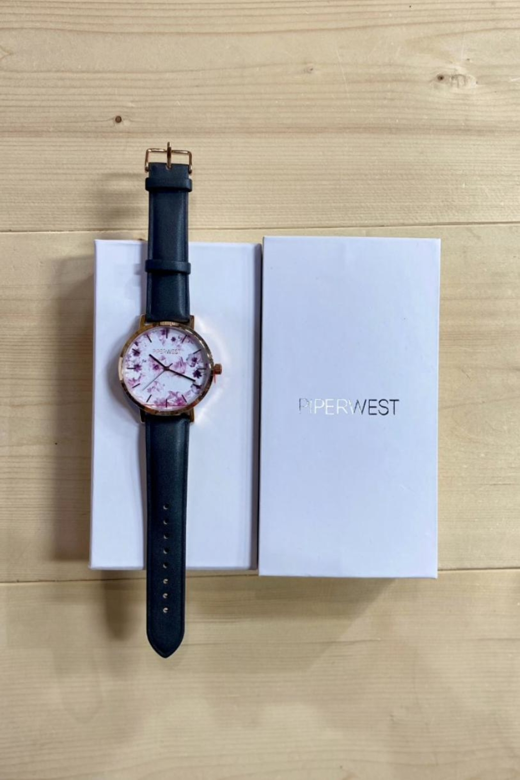 PIPERWEST Floral Minimalist Charcoal Watch - Front Full Image