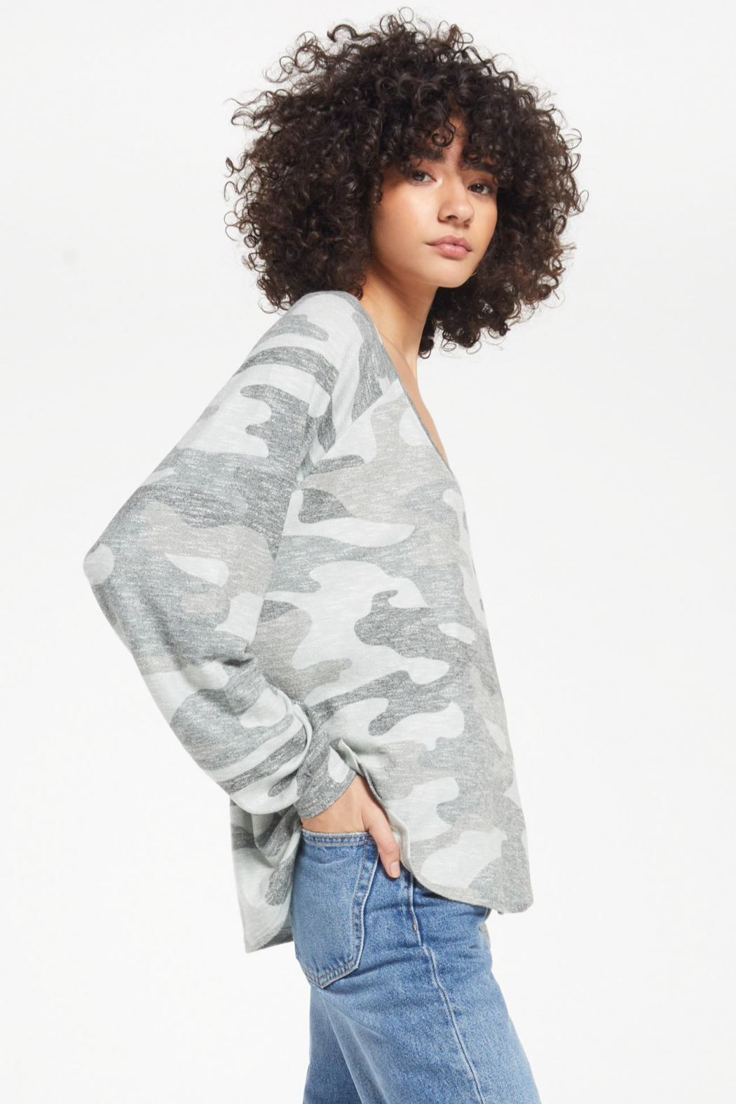 z supply Pira camo slub sweater - Front Full Image