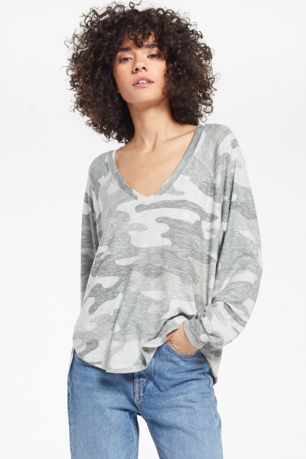 z supply Pira camo slub sweater - Back Cropped Image