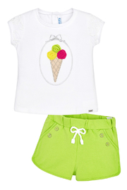 Mayoral Pistachio Knit Shorts - Front full body