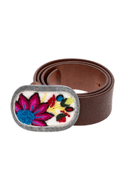 Pistil Embroidered Leather Belt - Product Mini Image