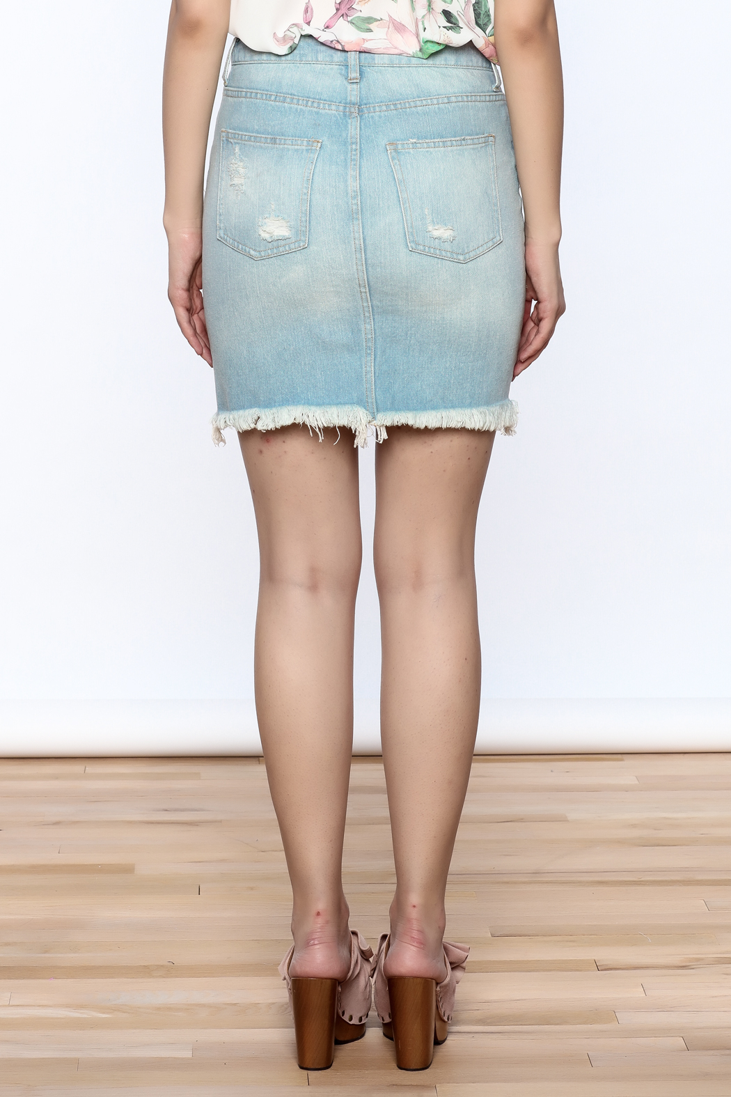 Pistola Distressed Denim Skirt - Back Cropped Image