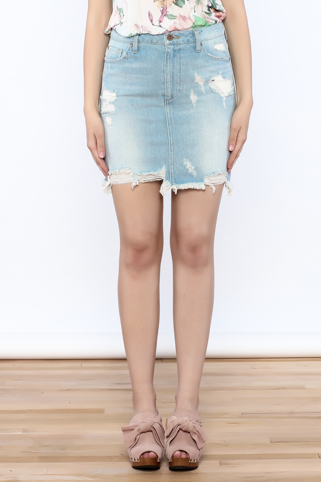 Pistola Distressed Denim Skirt - Side Cropped Image