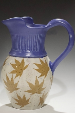 Iris Grundler Pottery Pitcher with Leaves - Alternate List Image