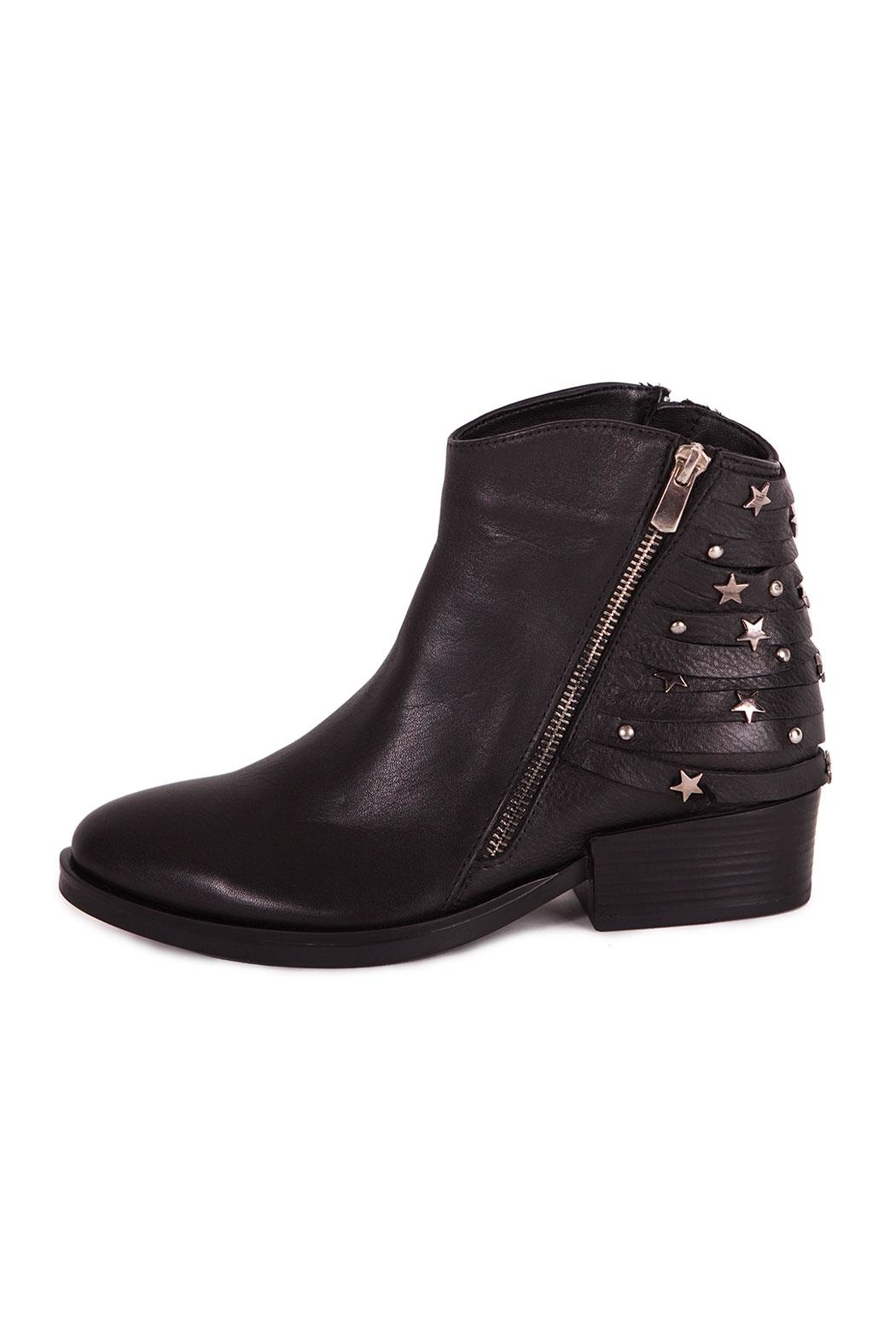 Pixy Milano Black Leather Booties - Front Full Image