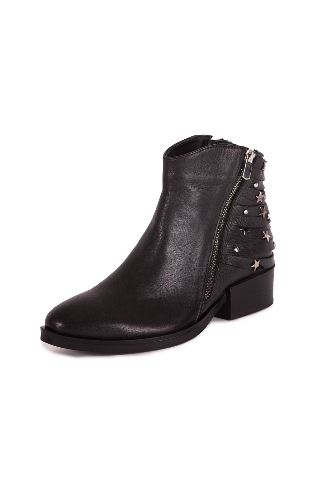 Pixy Milano Black Leather Booties - Main Image