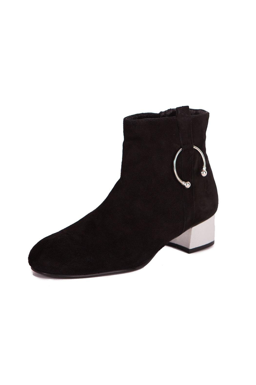 Pixy Milano Black Leather Boots - Front Cropped Image