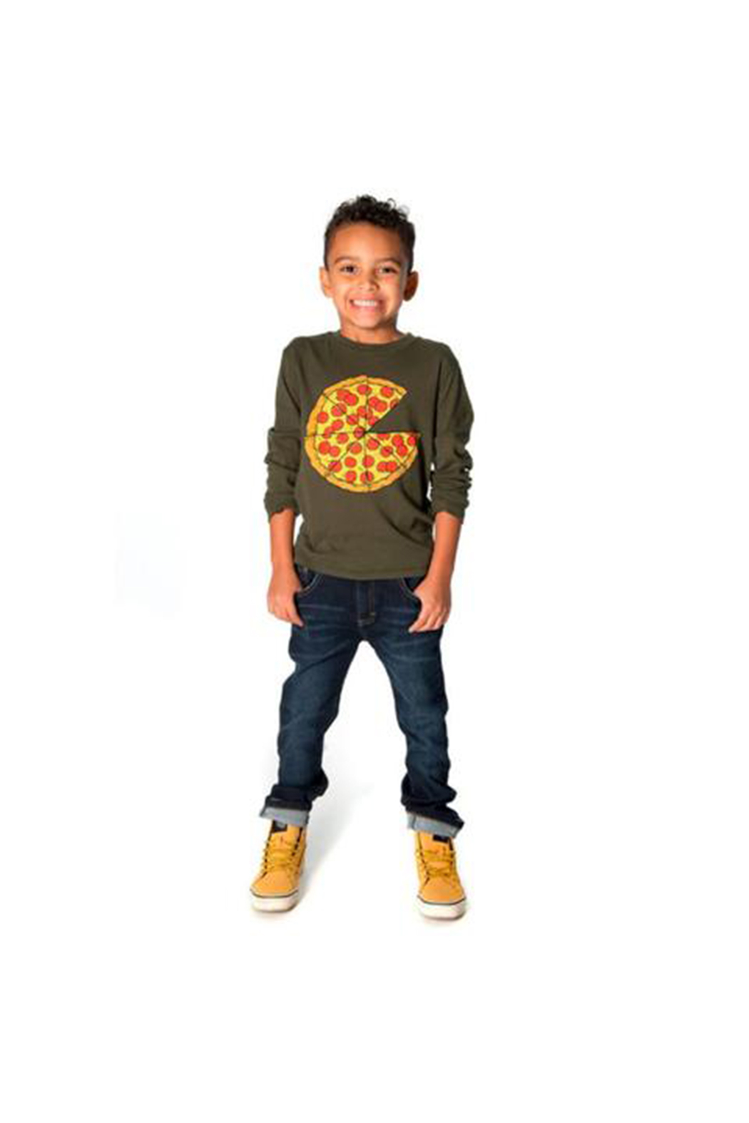 Appaman Pizza Pie Long Sleeve Tee - Front Full Image