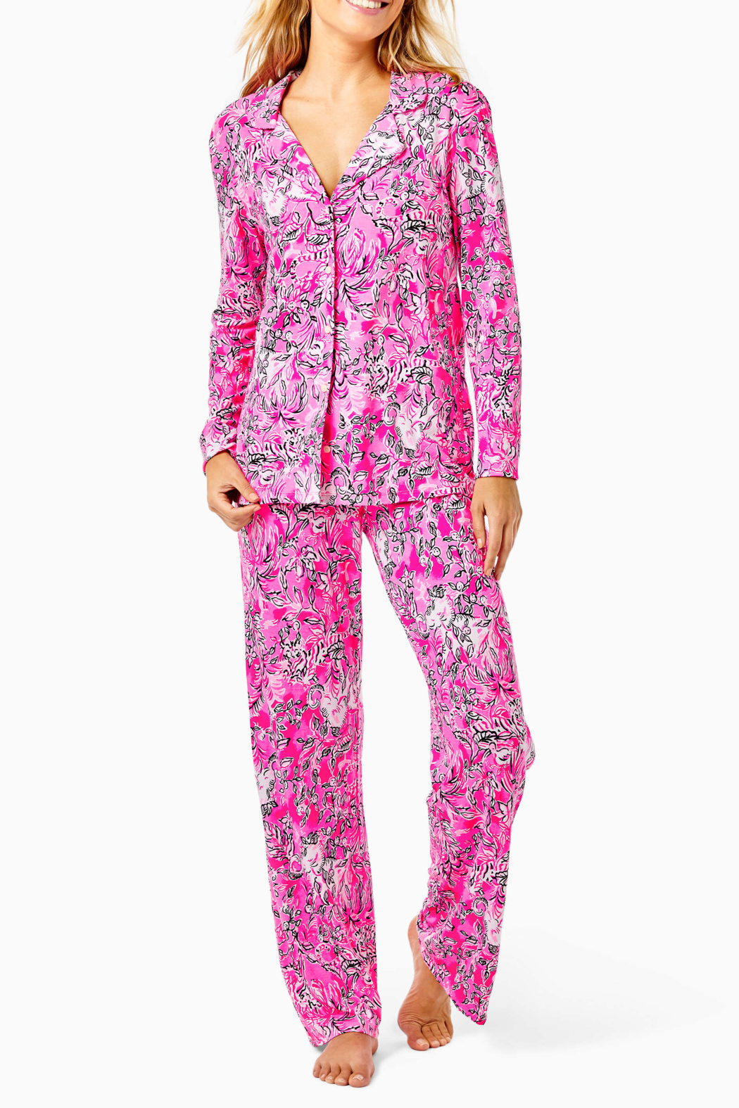 Lilly Pulitzer  PJ Knit Button-Up Top - Back Cropped Image