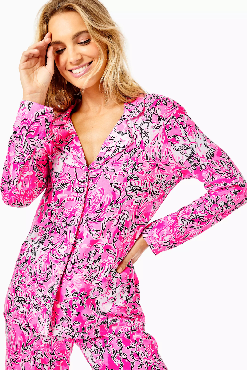 Lilly Pulitzer  PJ Knit Button-Up Top - Side Cropped Image