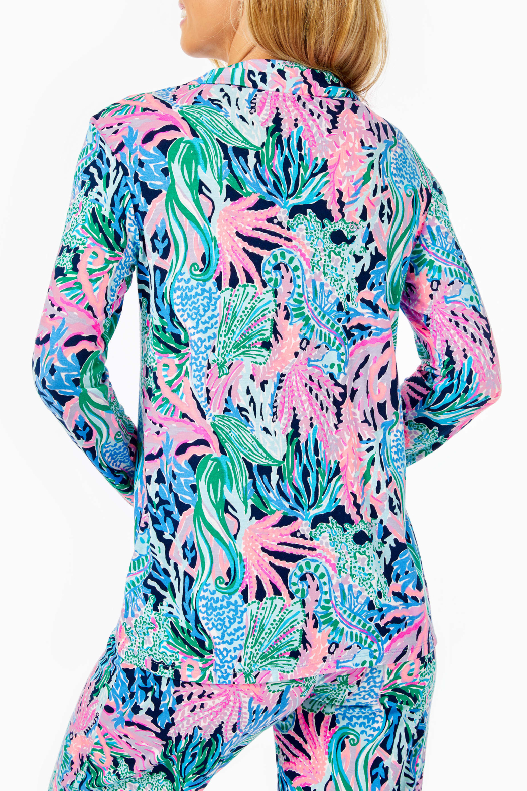 Lilly Pulitzer  PJ Knit Button-Up Top - Front Full Image