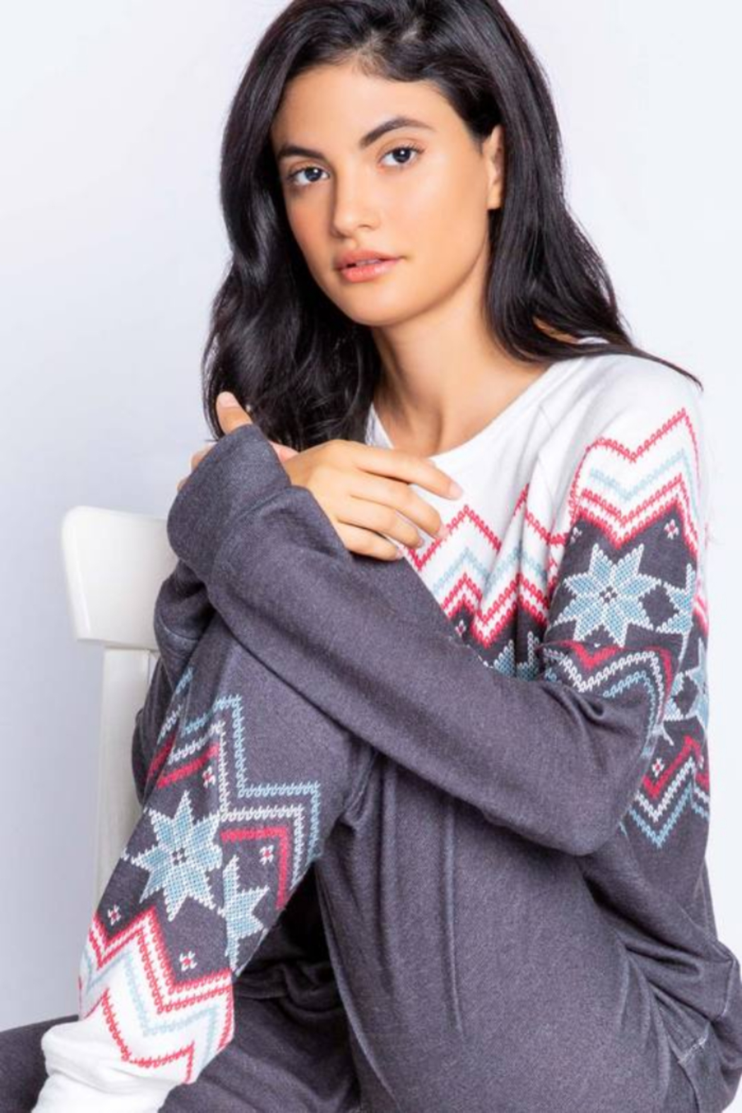 PJ Salvage Fair Isle Cozy Top - Front Cropped Image