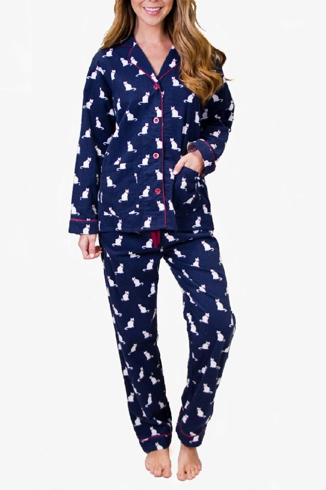 PJ Salvage Cat Flannel Pajamas - Front Cropped Image