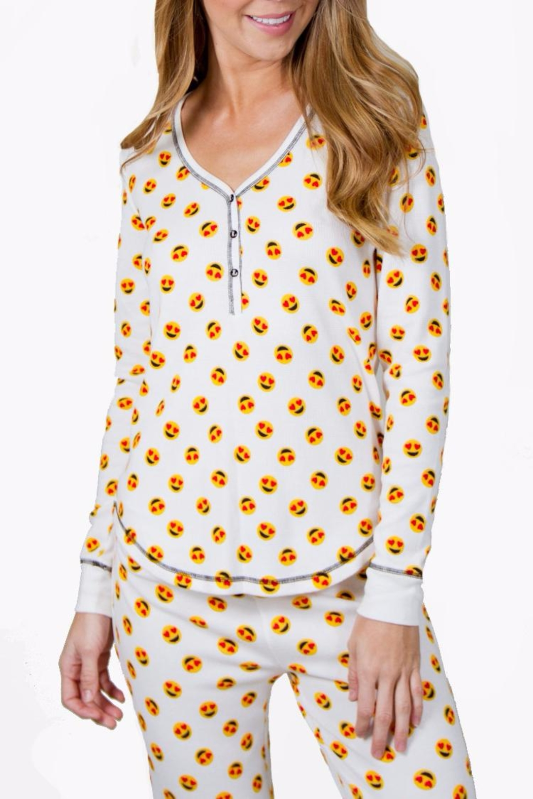 PJ Salvage Emoji Pajama Top - Side Cropped Image
