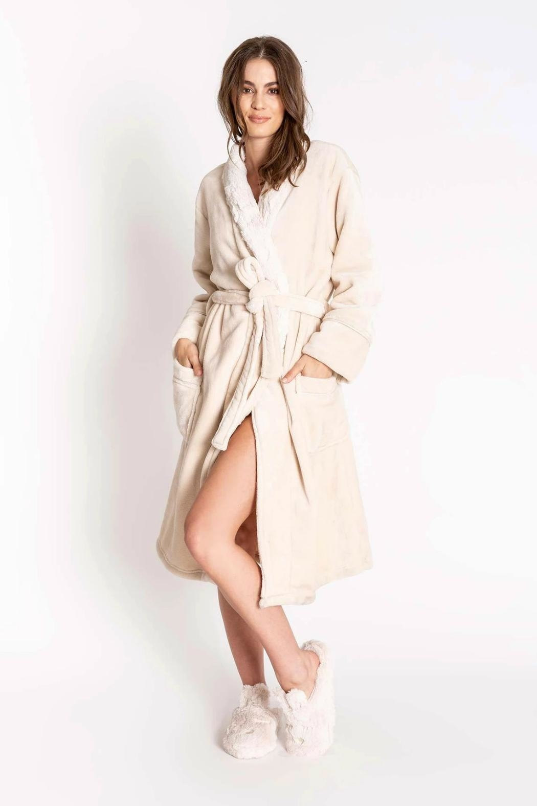 PJ Salvage Silky Luxe Plush Robe - Front Cropped Image